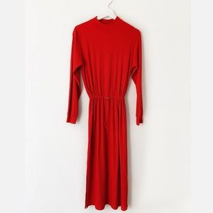Zara Collection Red Long Sleeve Maxi Dress